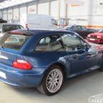 Cambio de color BMW Z3 Coupe. Parte trasera antes de pintar. Azul topasblau